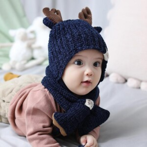 2-piece Cute Hat Bibs Beanies Hats Cotton Baby Bibs