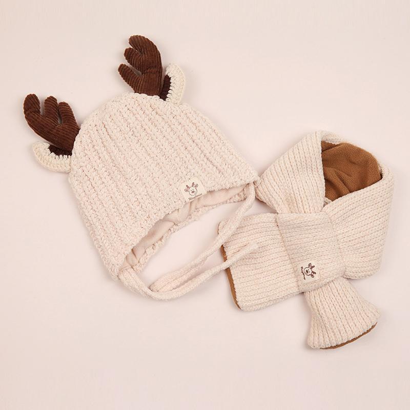 2-piece Cute Hat Bibs Beanies Hats Cotton Baby Bibs
