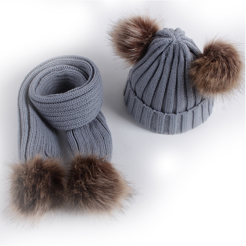 Instagram Style Baby Girl Boys Pom Fur Cute Winter Hat and Scarf