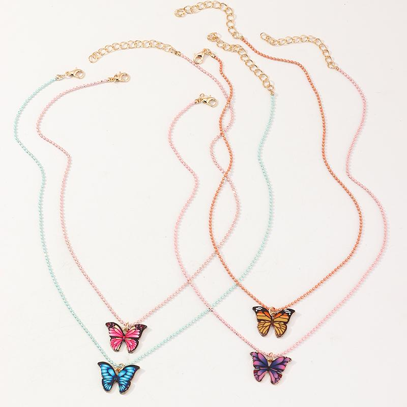 4-Pieces Butterfly Design Children's necklace For Girls