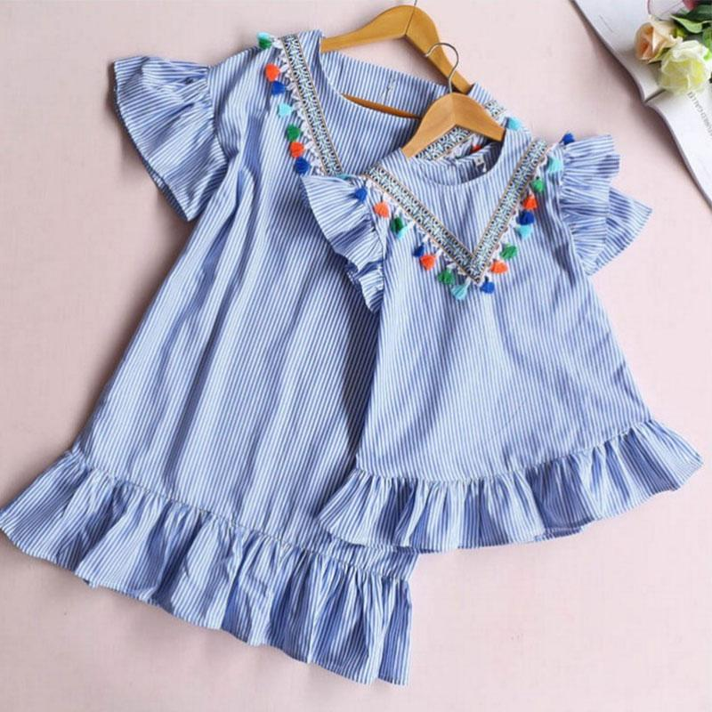 Solid Tassl Dress Mother Baby Clothes