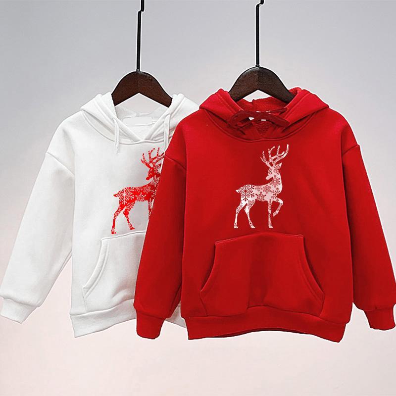 Christmas Deer Pattern Hoodie Dad Baby Clothes