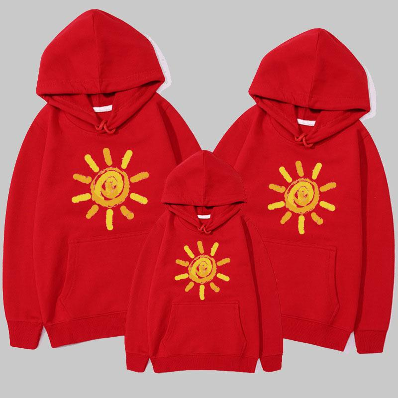 Sun Pattern Hoodie for Whole Family