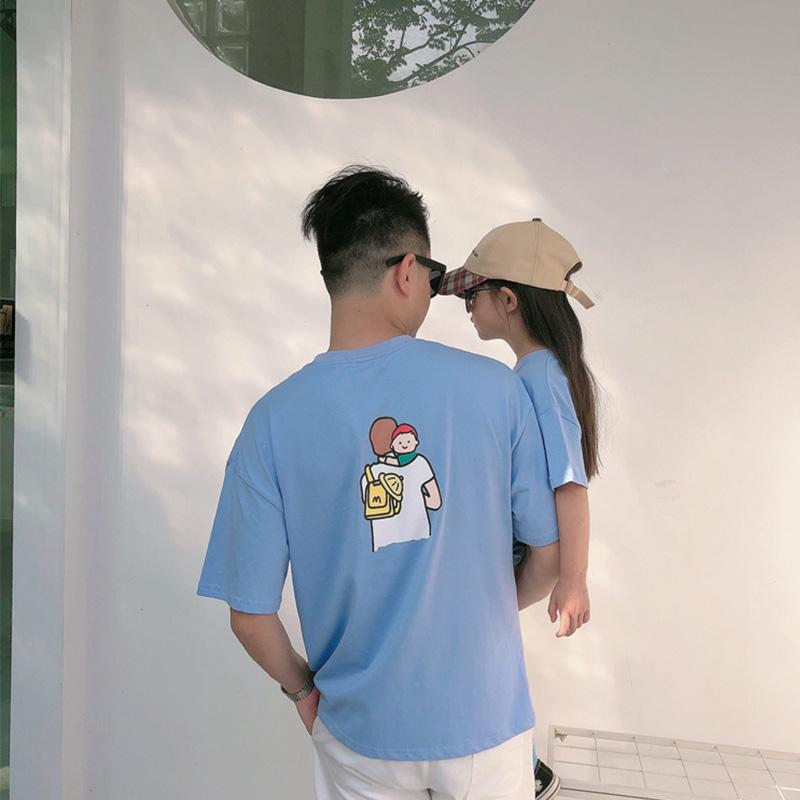 Casual Cartoon Design T-shirt for Whole Family