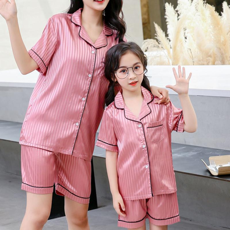 2-piece Solid Pajamas Mother Baby Clothes