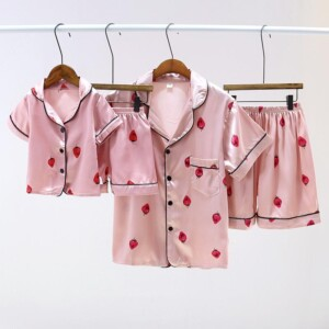 Satin Fabrics Silk-like Floral Printed Pajamas Mother Baby Clothes