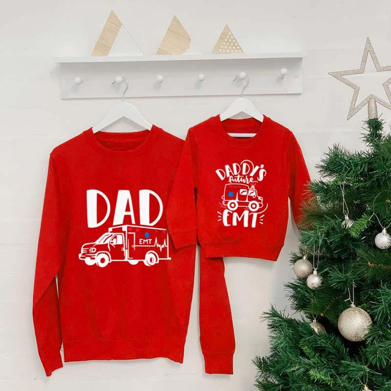 Letter Pattern Sweatshirts Dad Baby Clothes