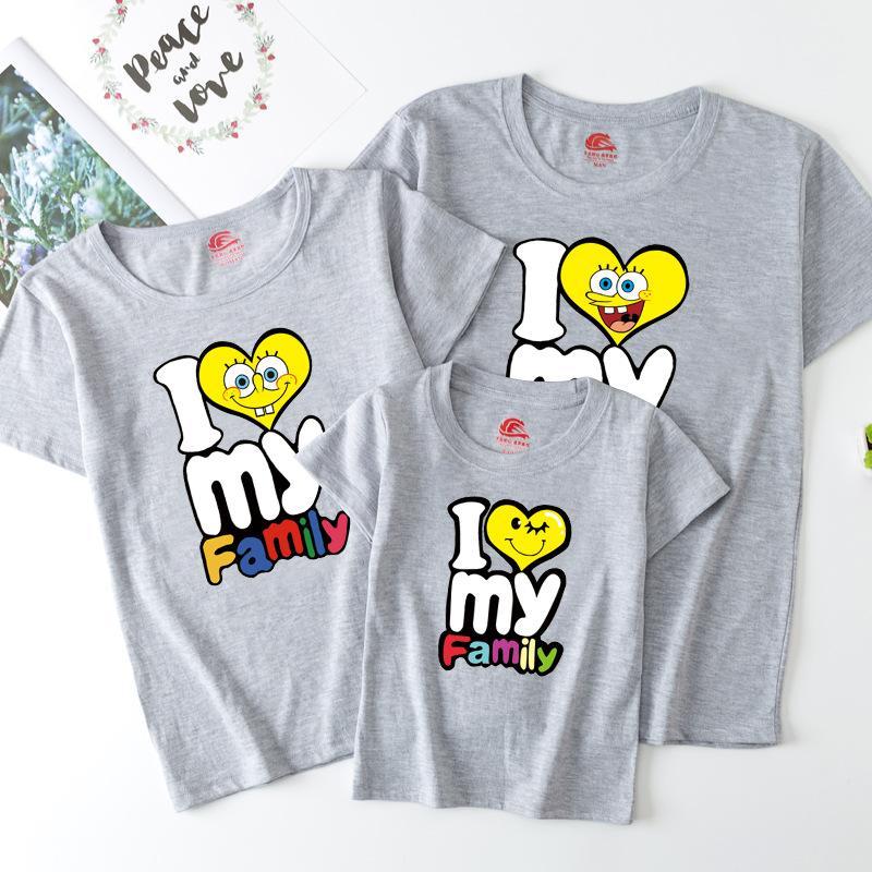 Cartoon Design T-shirt for Whole Family Children's