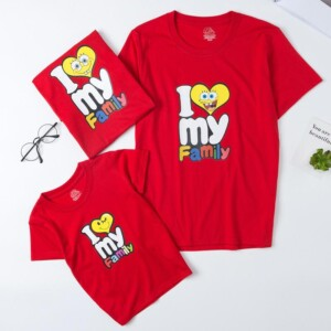 Cartoon Design T-shirt for Whole Family Children's