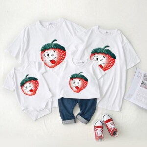 Family wear baby crawl wear short - sleeved t - shirt summer wearf