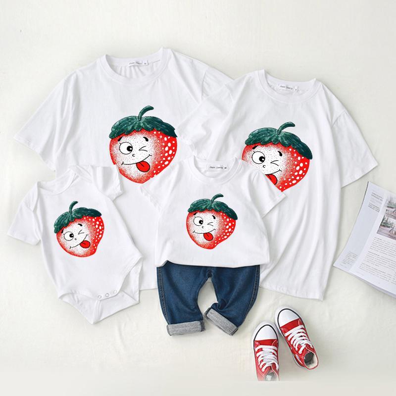 Family wear baby crawl wear short - sleeved t - shirt summer wearf