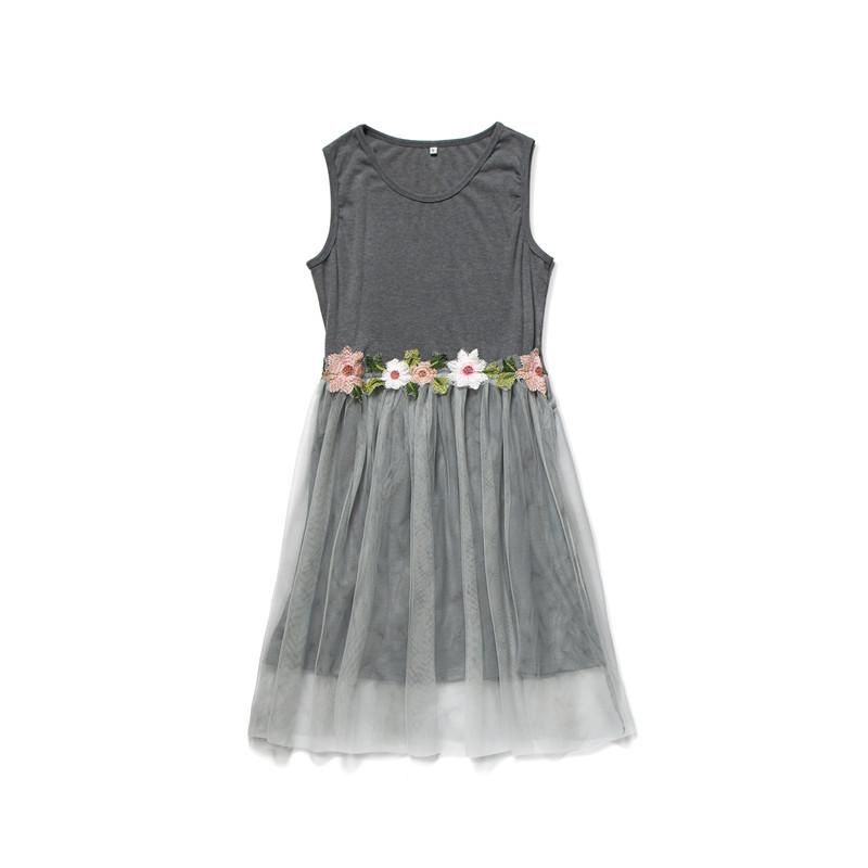 Floral Decor Mesh Dress Mother Baby Clothes