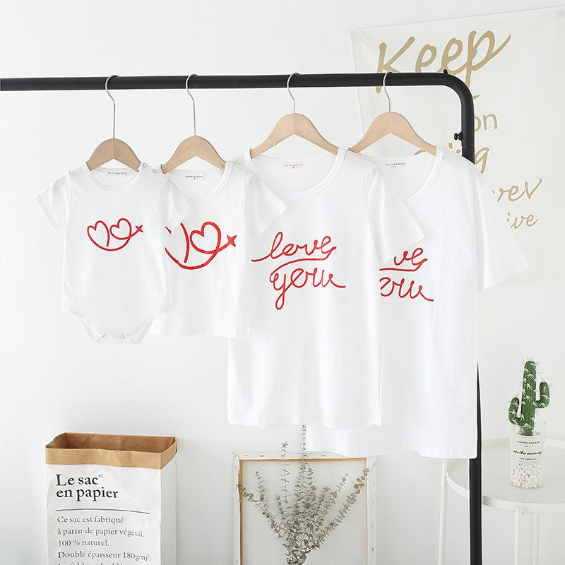 Letter Pattern T-shirt for Whole Family
