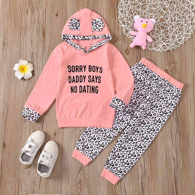 2-piece Letter Pattern Hoodie & Pants for Toddler Girl