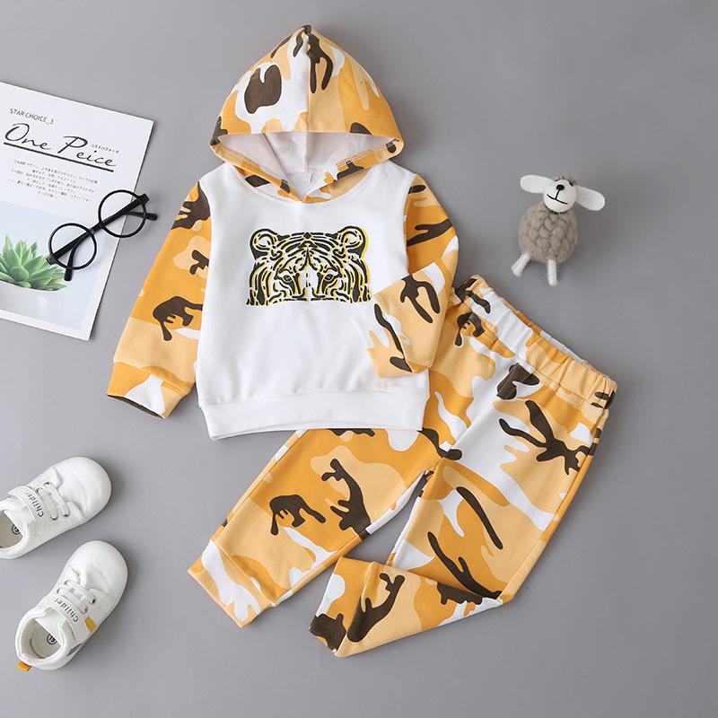 2-piece Tiger Stripe Print Hoodie & Pants for Baby Boy