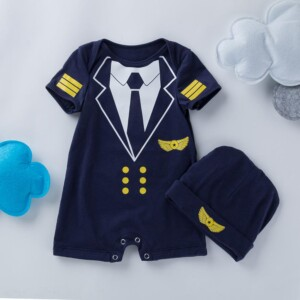 2-Piece Baby Boy Cotton Pilot Romper and Hat Set