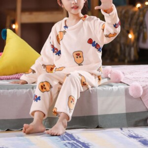 2-piece Fleece-lined Pattern Pajamas Sets for Girl