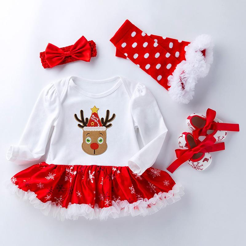 4-piece Cartoon Romper-skirt and Shoes and Bow Headband and Leggings Sets for Baby Girl
