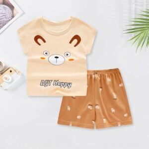 2-piece Cartoon Design T-shirt & Shorts for Boy
