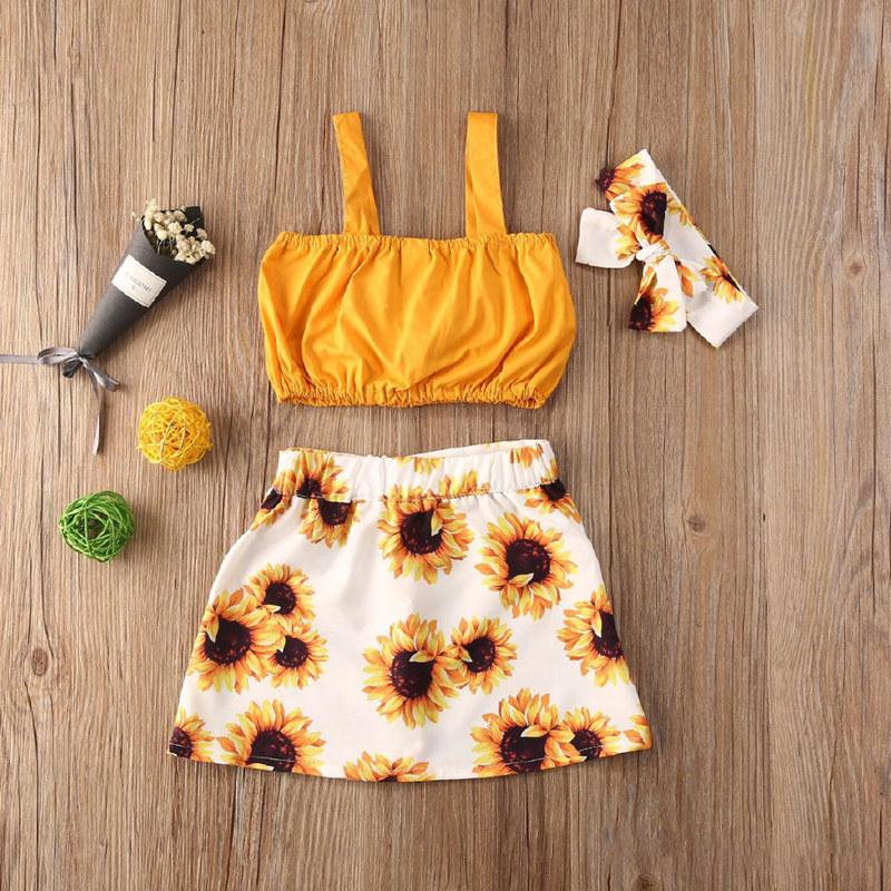 3-piece Sling Top, Floral Skirt with Headband