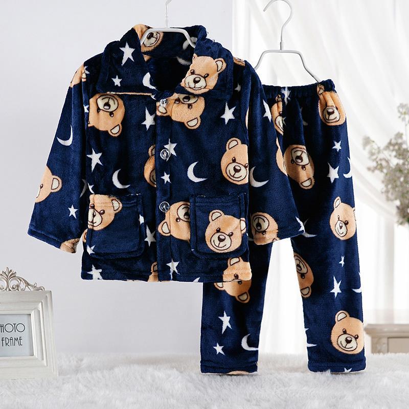 2-piece Cartoon Design Fleece-lined Pajamas Sets for Boy