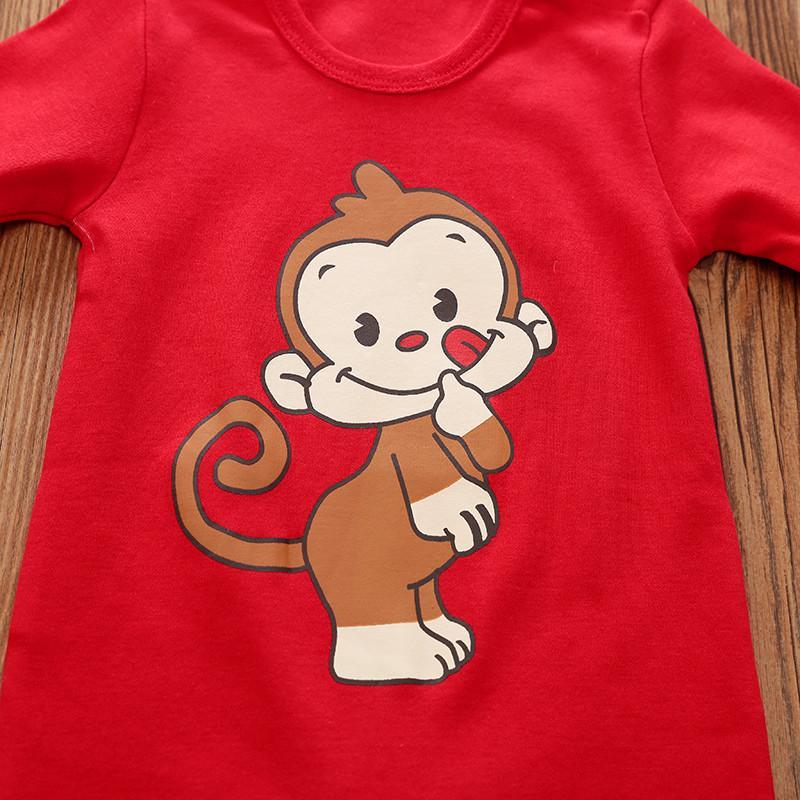 Soild Cartoon Monkey Pattern Jumpsuit Children's Jumpsuit