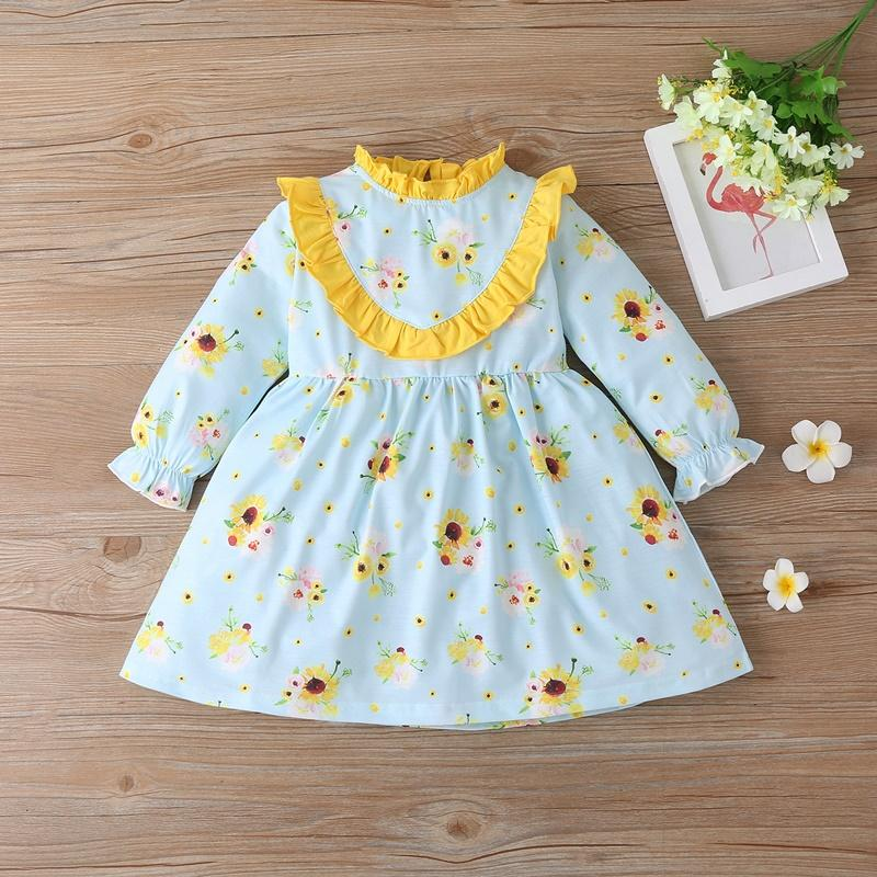 Ruffle Floral Pattern Dress for Toddler Girl