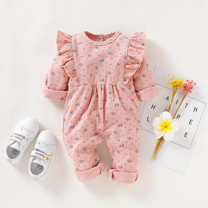 Ruffle Knit Floral Painted Jumpsuit for Baby Girl