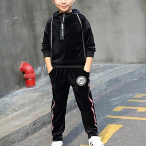 2-piece Casual Solid Hoodie & Pants for Boy