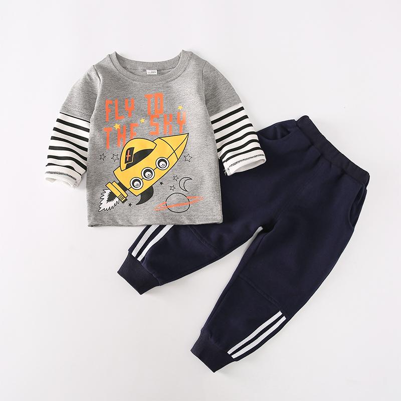 2-piece Vehicle Pattern Sweatshirts & Pants for Toddler Boy