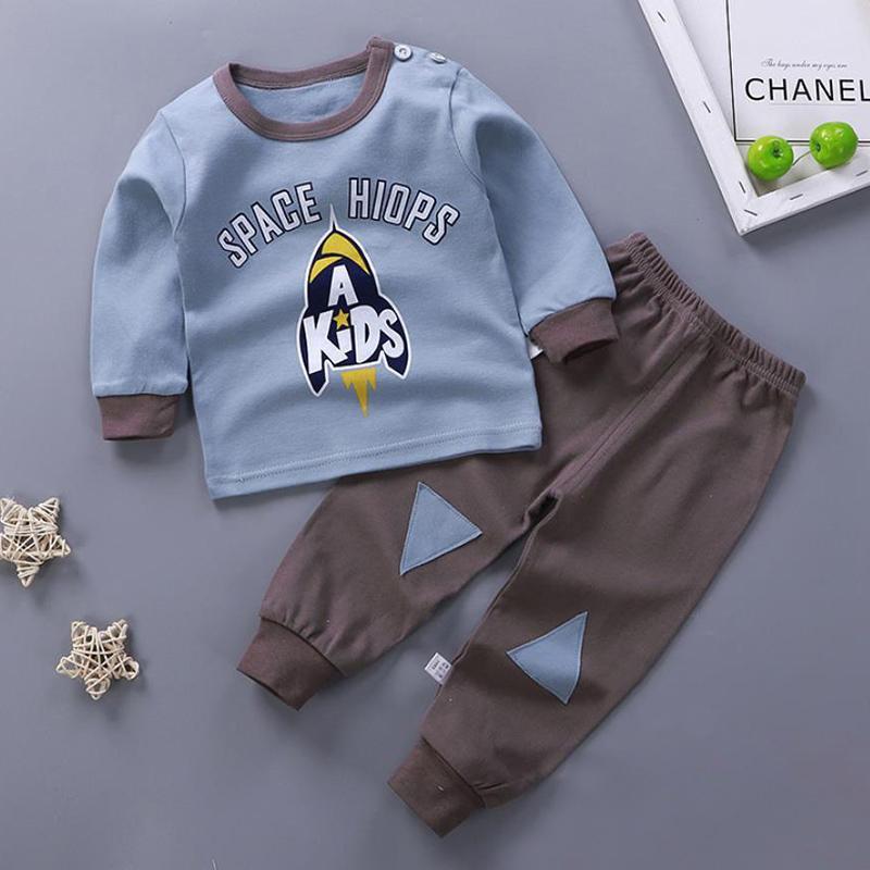 2-piece Rocket Pattern Pajamas Sets for Toddler Boy