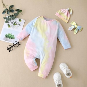 3-piece Tie Dye Hat & Romper & Headband for Baby