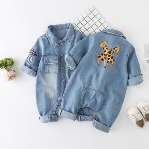 Long-Sleeve Animal Print Denim Jumpsuit