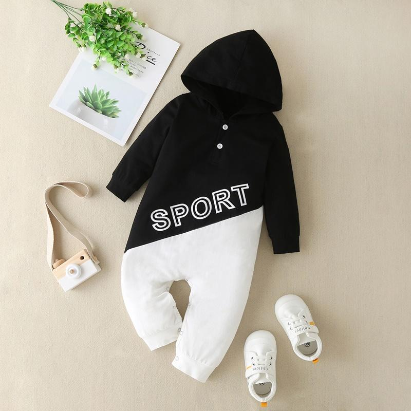 Color-block Hooded Romper for Baby