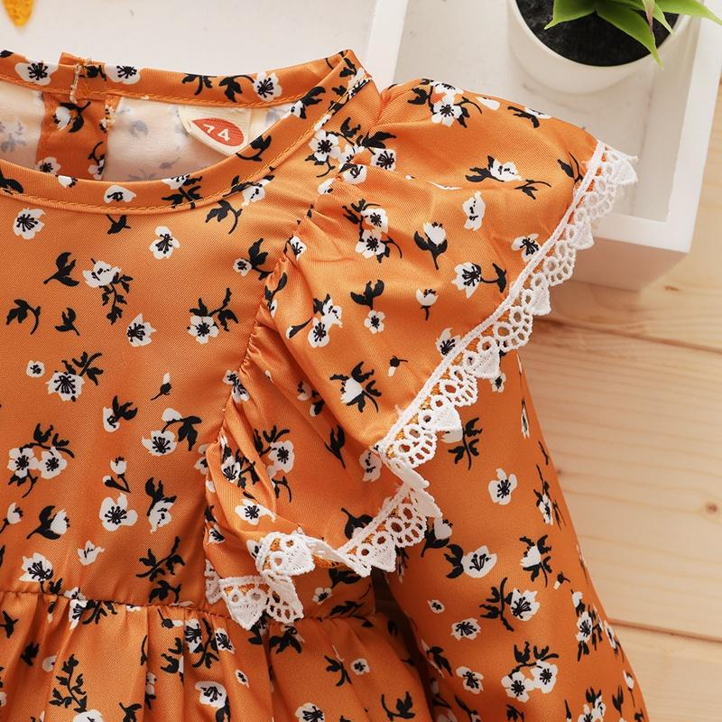 Ruffle Floral Pattern Dress for Baby Girl