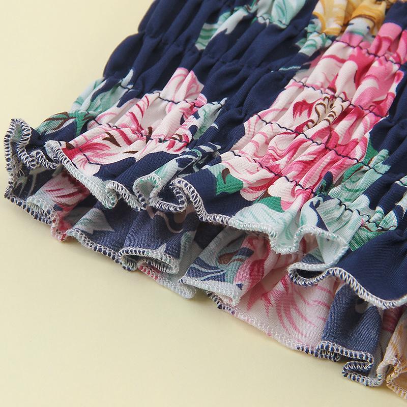 2-piece Flower Overprint Suit For Girls