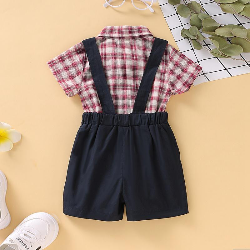 2-Piece Plaid Bownot Decoration Babysuit and Overalls