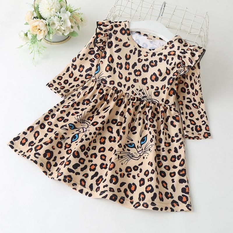 Leopard Long Sleeve Dress for Toddler Girl
