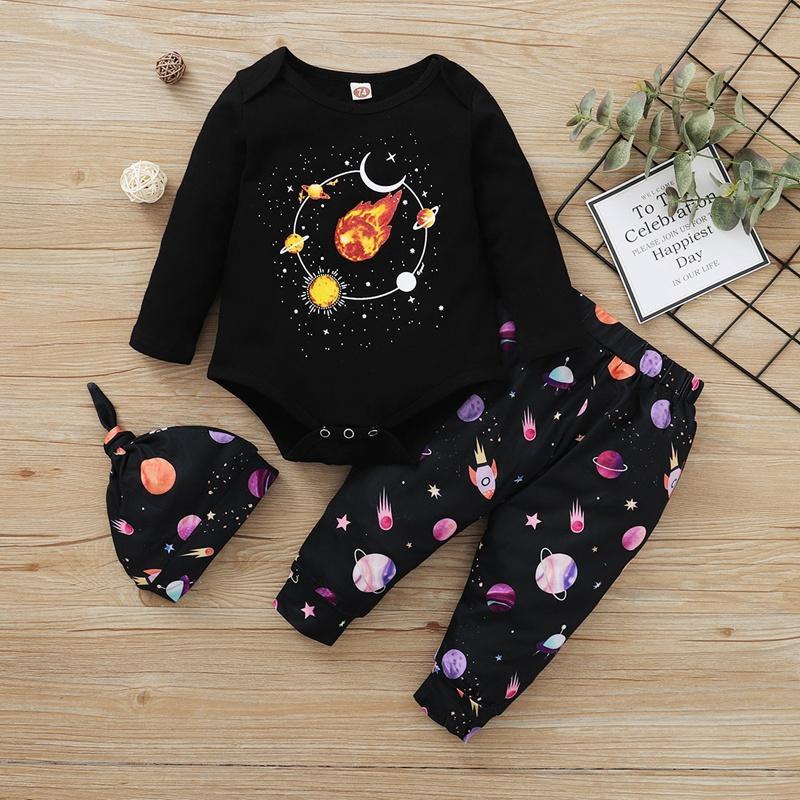 3-piece Galaxy Pattern Hat & Romper & Pants for Baby Boy