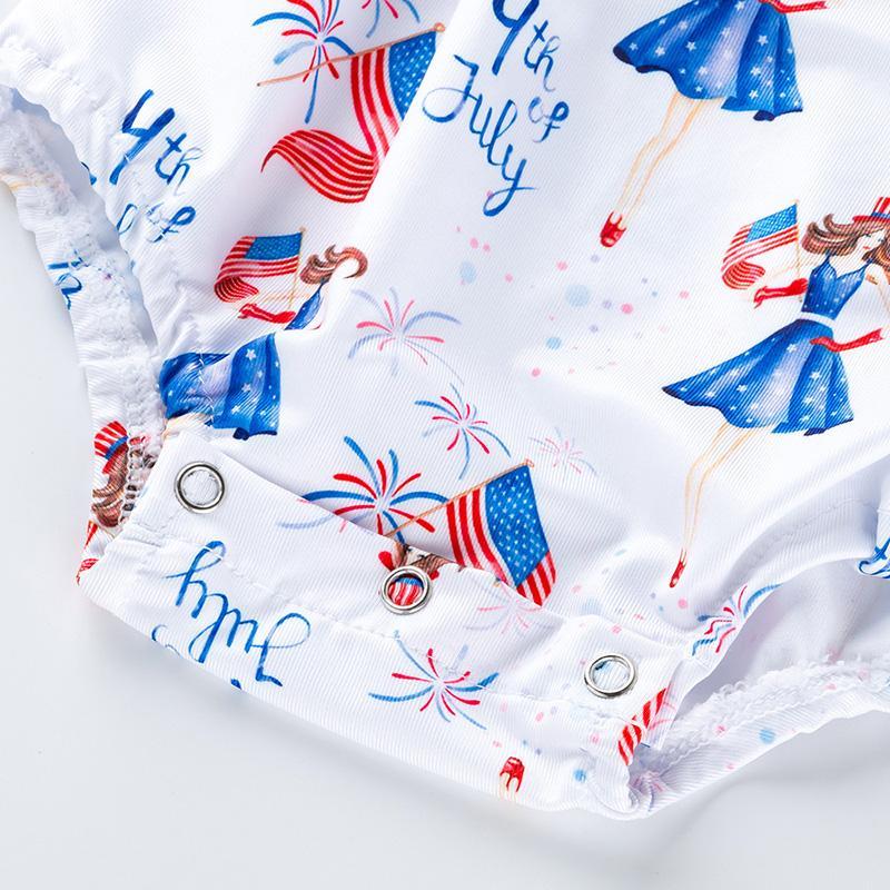 Cartoon Design Ruffle Bodysuit for Baby Girl