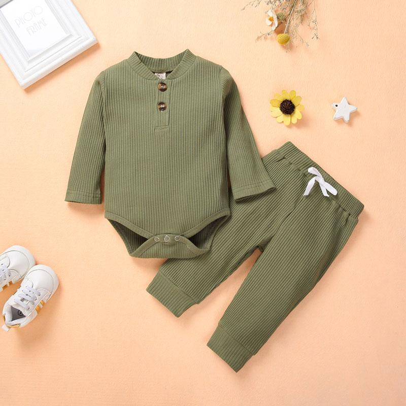 2-piece Solid Bodysuit & Pants for Baby Boy