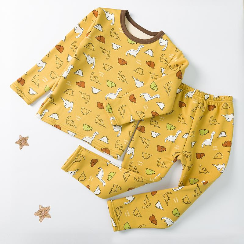 2-piece Cartoon Design Extra Thick Pajamas Sets for Boy