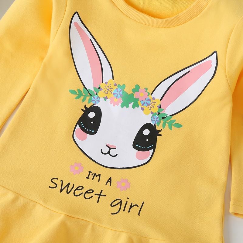 Rabbit Pattern Knee Length Dress for Toddler Girl