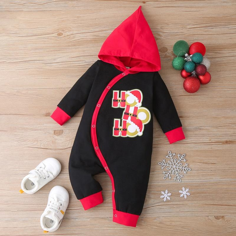 Long Sleeve Hooded Christmas Jumpsuit for Baby