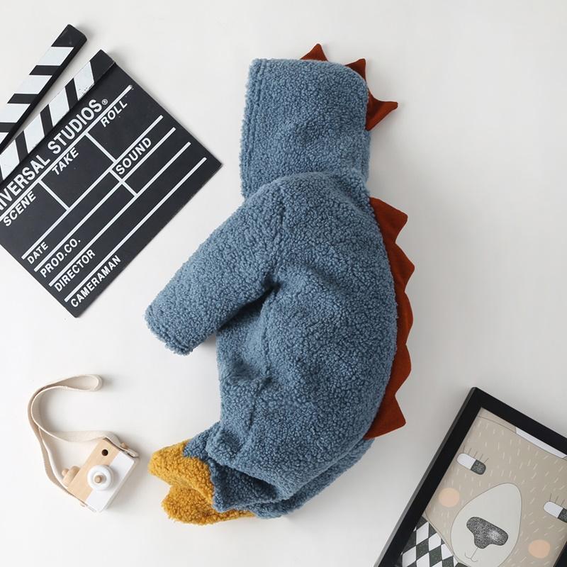 Dinosaur Pattern Plush Jumpsuit for Baby