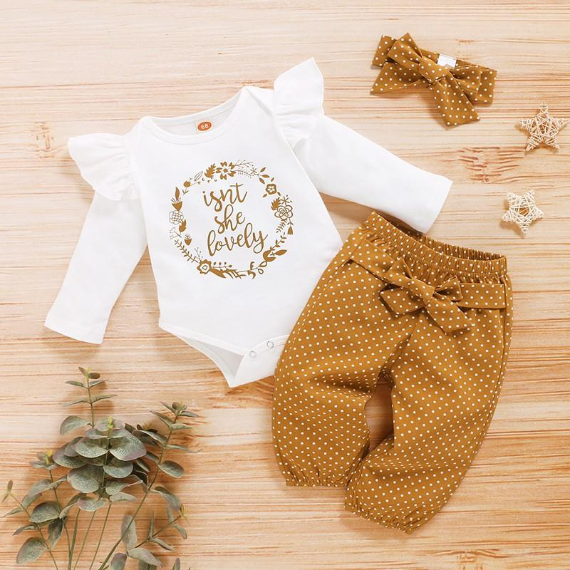 Hot Sale 3-piece Letter Bodysuit, Polka Dot Pants with Headband