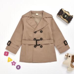Solid Casual Trench for Toddler Girl