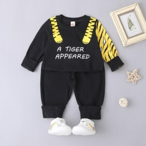 2-piece Tiger Stripe Print Suit for Baby Boy