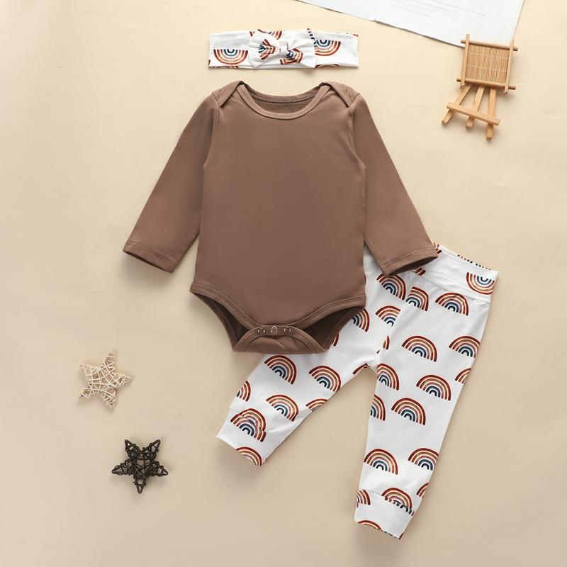 3-piece Solid Bodysuit & Pants & Headband for Baby Girl