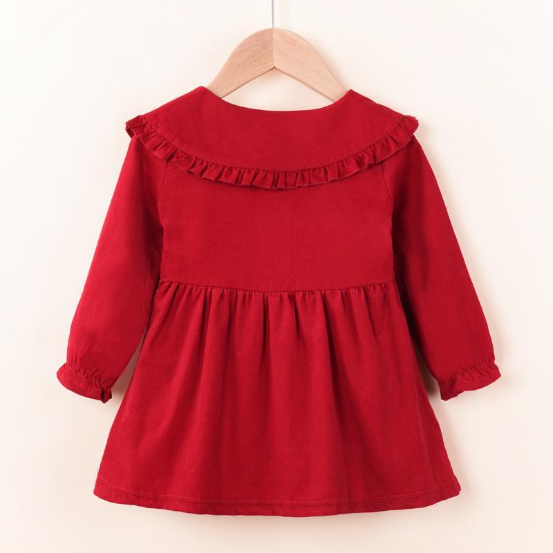 Bow Decor Lapel Collar Dress for Toddler Girl